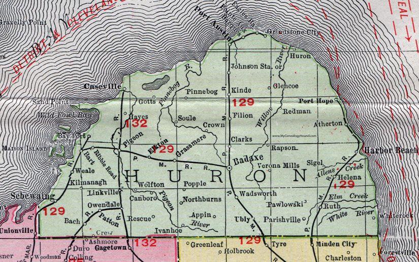 Huron County, Michigan, 1911, Map, Rand McNally, Bad Axe ... on