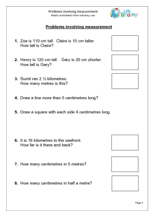 Problems Involving Measurement Measuring And Time Maths Worksheets For Year 3 Age 7 8 Measurement Worksheets Time Worksheets Math Time