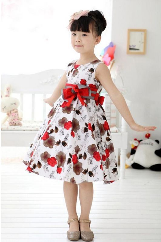 e40a9660f Girls Kids Skirt Children Dress Clothes Flowers Red White Size 3 ...