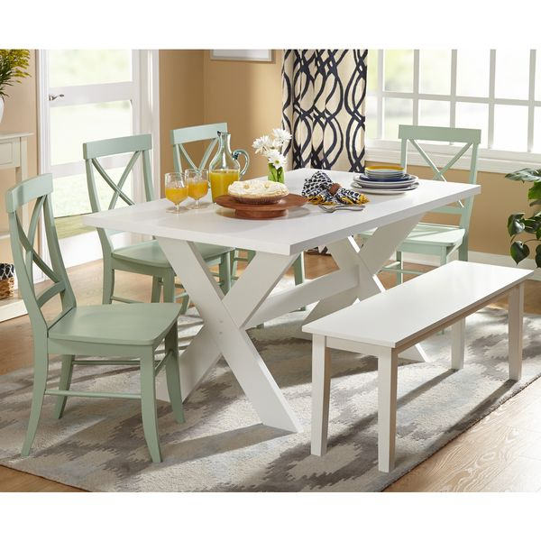 Simple Living 6Piece Sumner Dining Set With Bench  Dining Table Amusing Dining Room Sets Online Inspiration