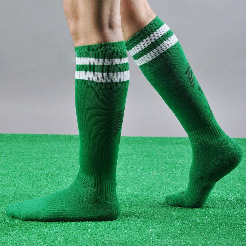 Mens Knee High Stocking Sport Football Striped Long Socks