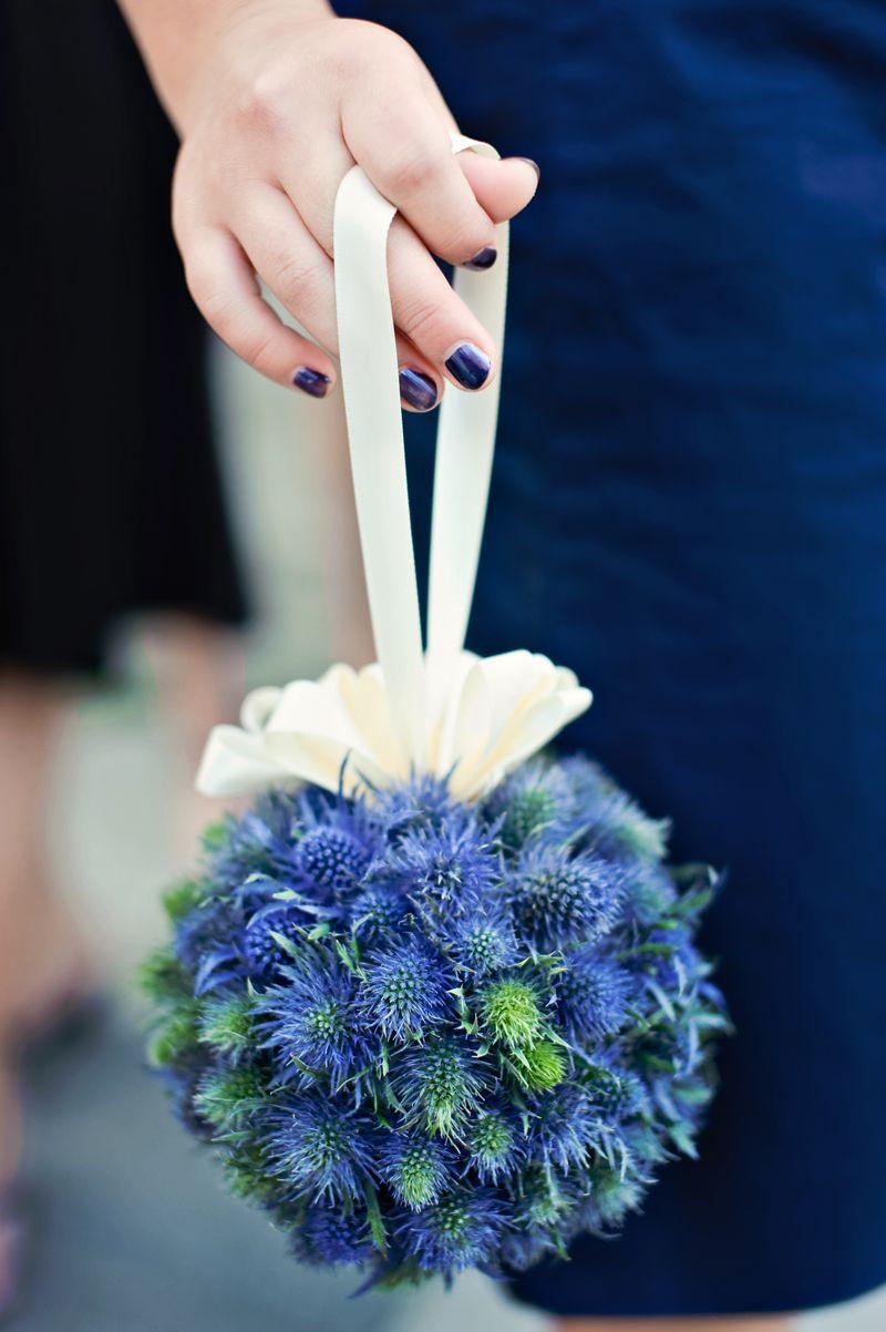 Blue Thistle Pomander Ball Love It Deland Florida Wedding Flowers Volusiacountyweddingflowers Www