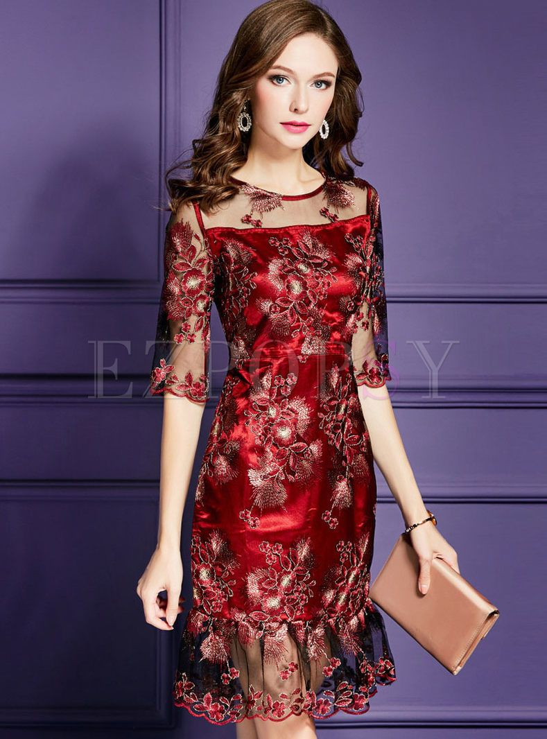 Wine Red Slim Embroidered Peplum Cocktail Dress Evening Dresses Short Beauty Dress Designer Dresses [ 1066 x 789 Pixel ]