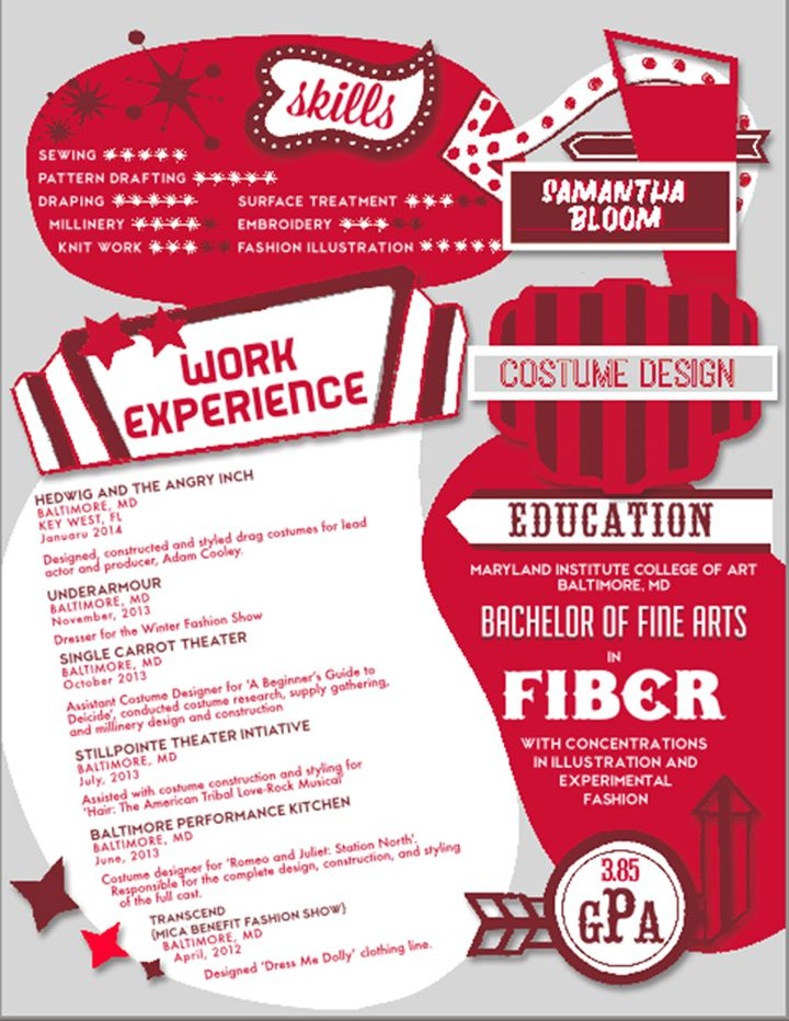 Resume Design By Liberty Riggs Costume Designer Resume #costume #art #fiber  #designer