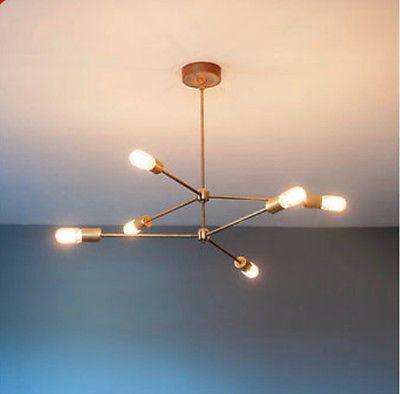 Mid century modern atomic sputnik brass chandelier light fixture 6 ...