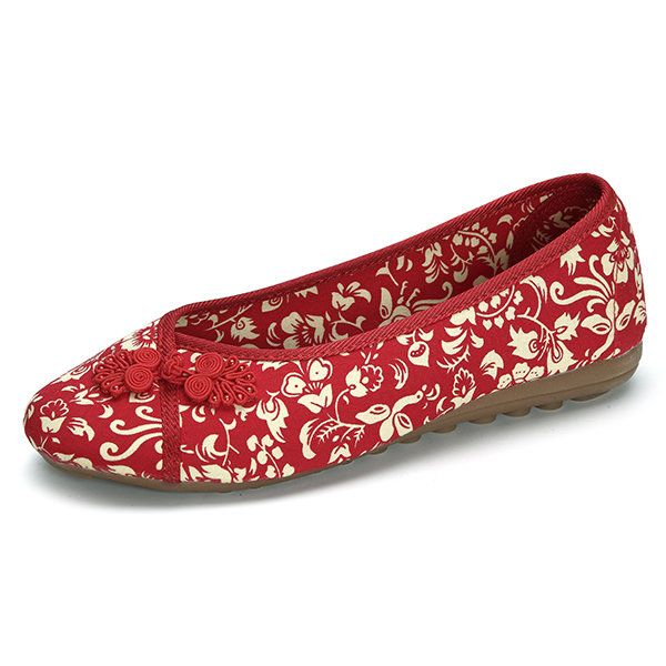 Handmade Chinese Knot Old Peking Cotton Soft Flat Loafers For Women