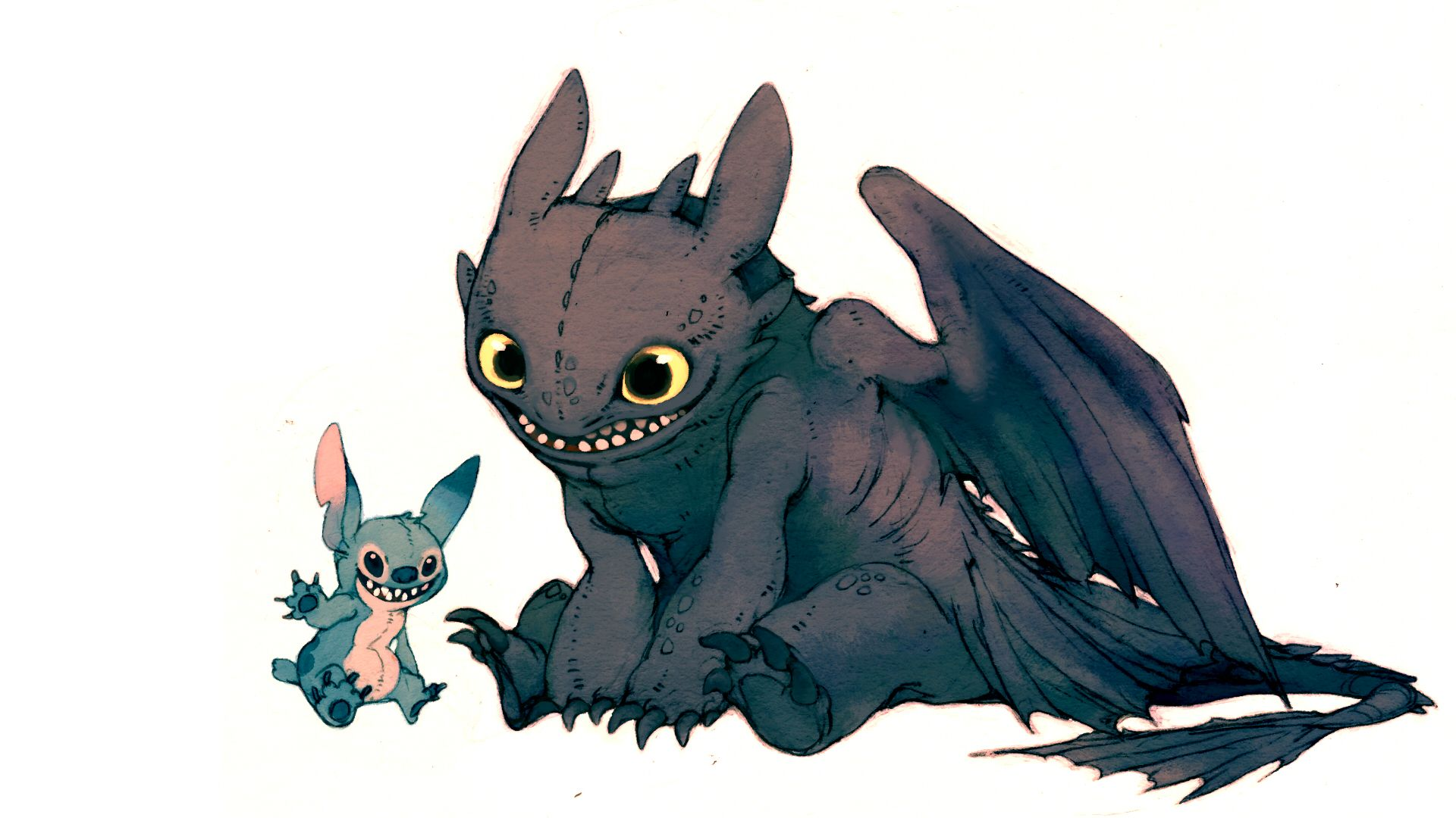 Stitch & Toothless illustration Pinterest Toothless