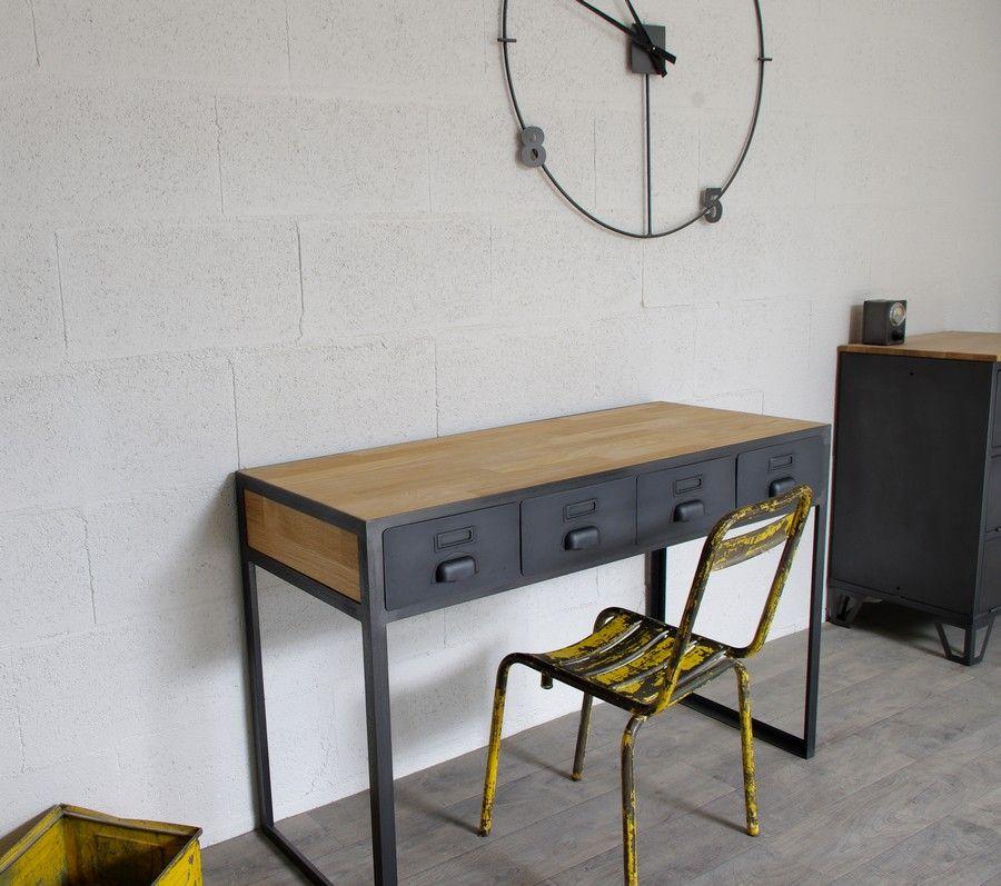Bureau industriel et 4 tiroirs cr ation restauration de meuble industriel bureau - Restauration meuble industriel ...
