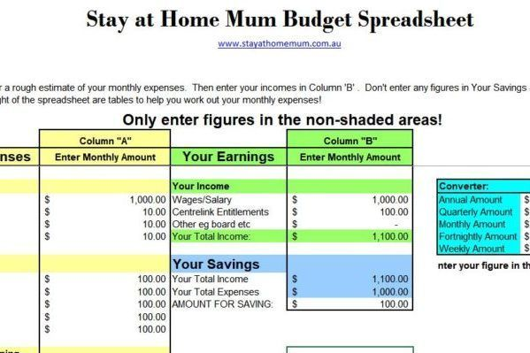 FREE Downloadable Budget Spreadsheet - Stay at Home Mum   - Download Budget Spreadsheet