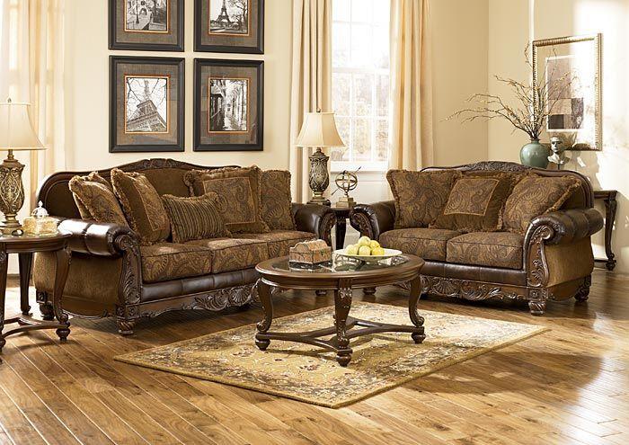 Gibson Mcdonald Furniture Fresco Durablend Antique Sofa Loveseat Antique Living Rooms Ashley Furniture Living Room Living Room Leather