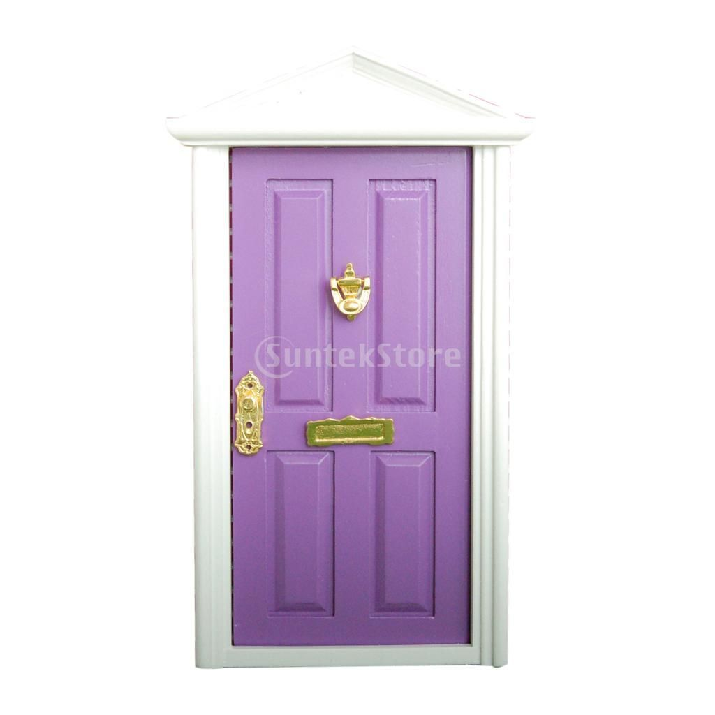 Photo of Dollhouse Miniature Purple Wooden Door 4-Panel Exterior Steepletop with Key – Fr…