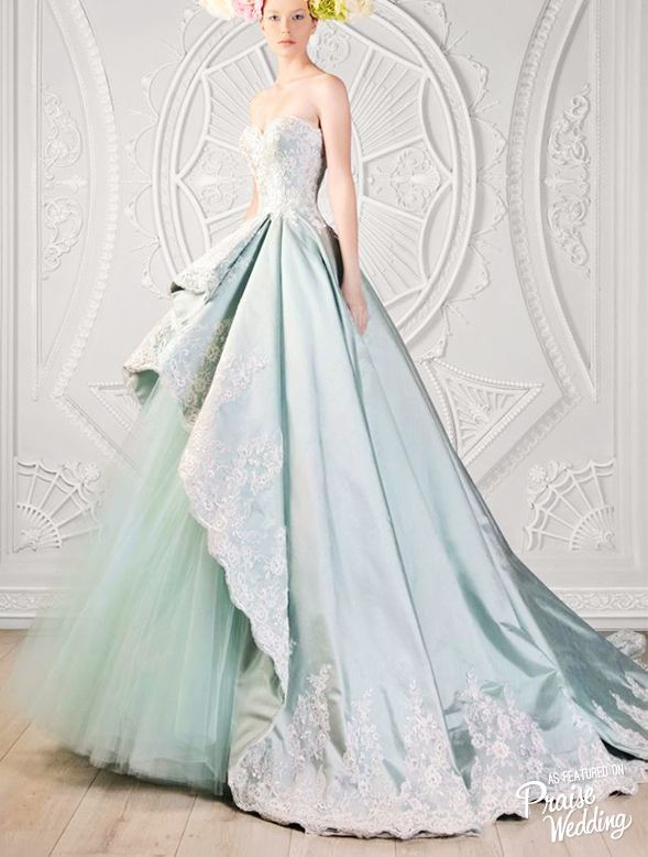 Gorgeous Ice Blue Gown With A Touch Of Lace By Rami Kadi