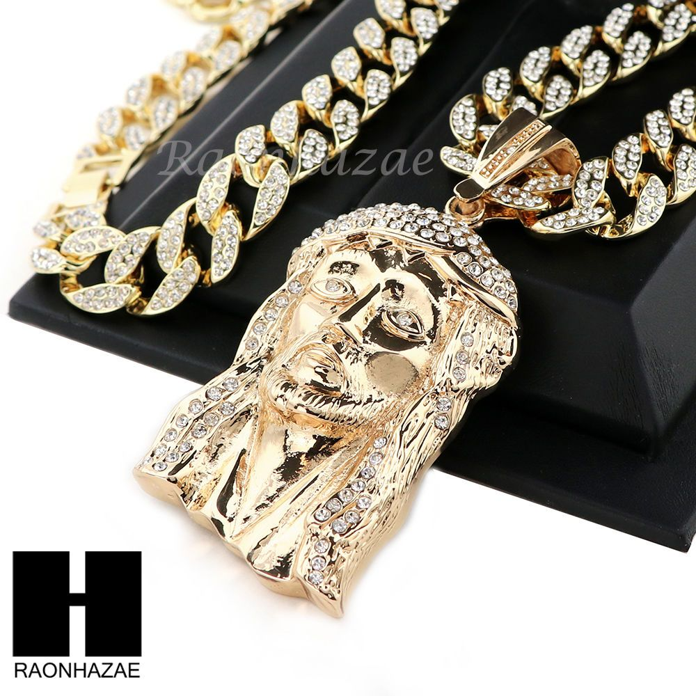 """Gold Jesus Piece Lab Simulated Diamonds With 24/"""" Box Chain Necklace Set Iced Out"""
