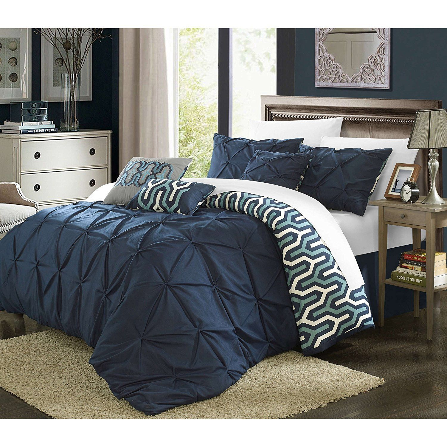 Queen Navy Pinched Pleat forter Set Fancy Luxury Bedding