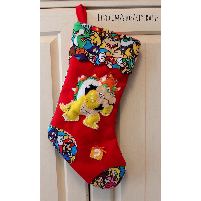 Super Mario Christmas Stocking.Super Mario Bowser Nintendo Christmas Stocking A Nerdy