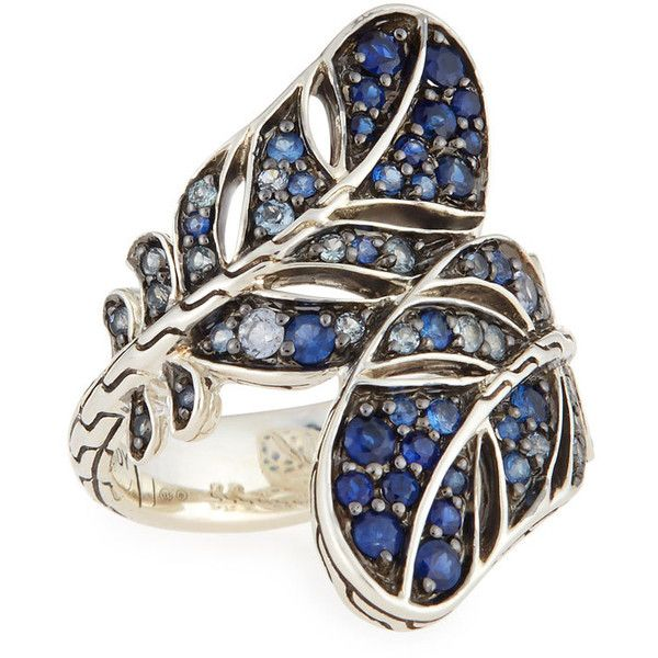 John Hardy Silver Feather Lava Sapphire Gradient Bypass Ring ($600) ❤ liked on Polyvore featuring jewelry, rings, blue, carved ring, sapphire jewelry, sapphire cocktail ring, silver statement ring and statement rings