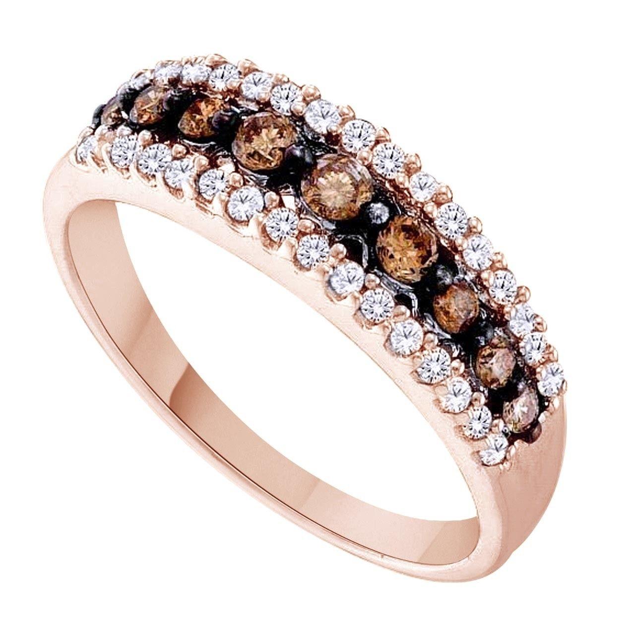 10K Rose Gold Brown Champagne Diamond Wedding Band