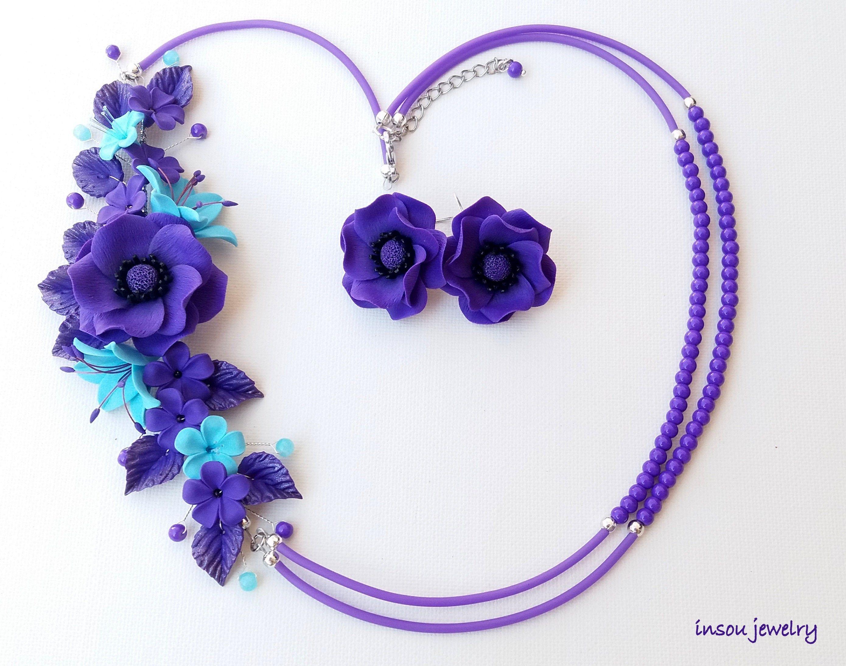 Anemone Flower Necklace Purple Light Blue Necklace Floral Necklace Gift For Mom Gift For Her Floral Fashion Autumn Jewelry Flowers Flower Necklace Floral Necklace Flower Bracelet