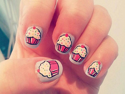 Cute Cupcake nail art! #nailart why can't my nails come out like - 33 Easy AF Nail Art Designs Cupcake Nail Art, Makeup And Classy