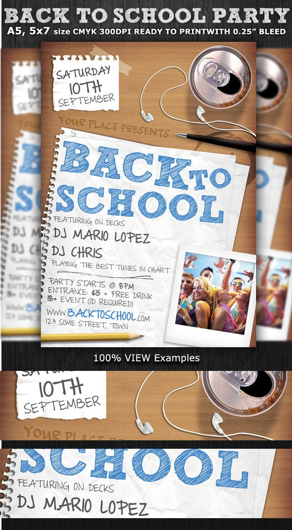 Back To School Party Flyer Template By Christos Andronicou Via