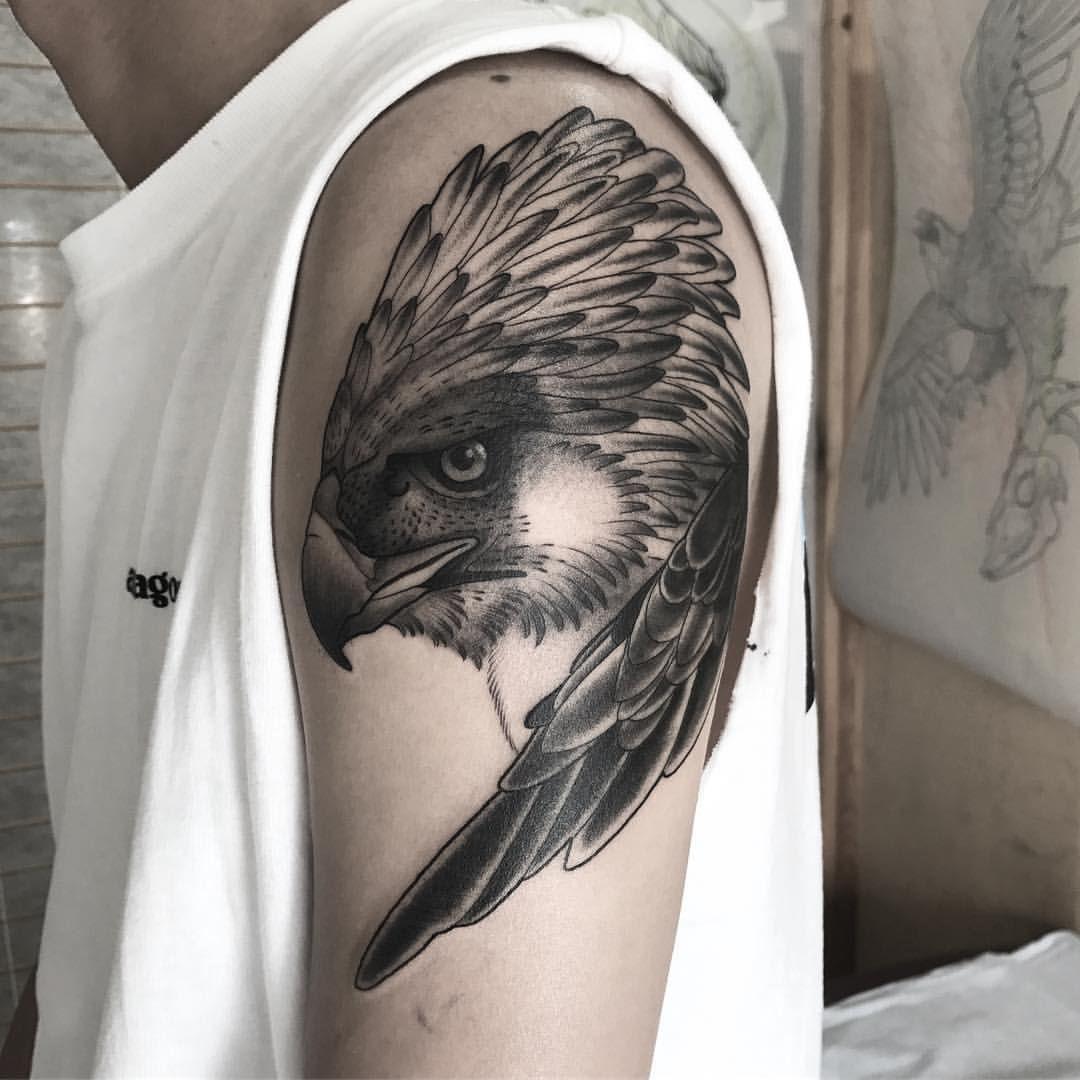 "7fcc8bdb6 paintedrabbit: "" A Philippine Eagle for Francis. Thanks dude! #eagletattoo  #philippineeagle #monkeyeatingeagle (at Passage Tattoo) "" Ash Timlin"