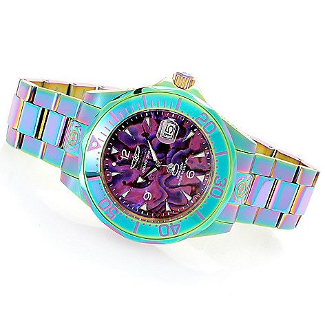 646-406 - Invicta 38mm or 47mm Grand Diver Automatic Abalone Dial Iridescent Bracelet Watch w/ Dive Case
