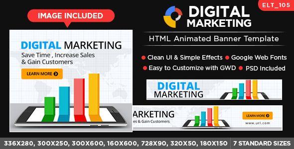 Digital Marketing HTML Banners - GWD - 7 Sizes (Elite-CC-105