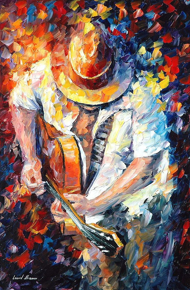 Guitar And Soul  U2014 Palette Knife Oil Painting On Canvas By Leonid Afremov