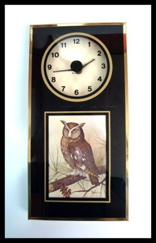 Vintage 70s 80s Quartz Modern Retro Owl Home Decor Wall Clock Hanging Brass | eBay