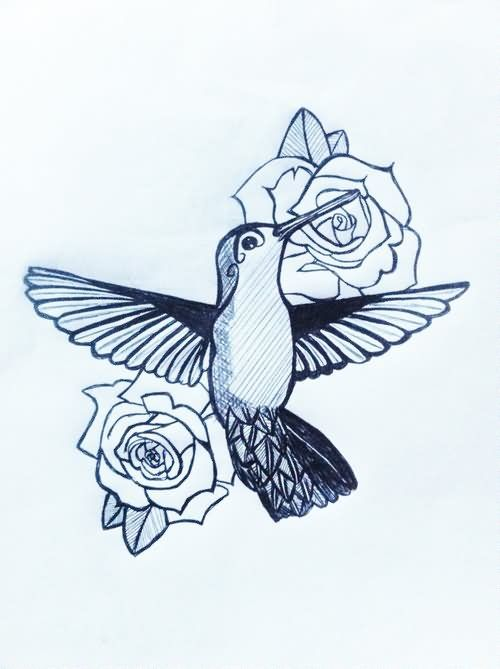 bce0ce231 Rose Flowers And Hummingbird Tattoo Design   tattoos   Hummingbird ...