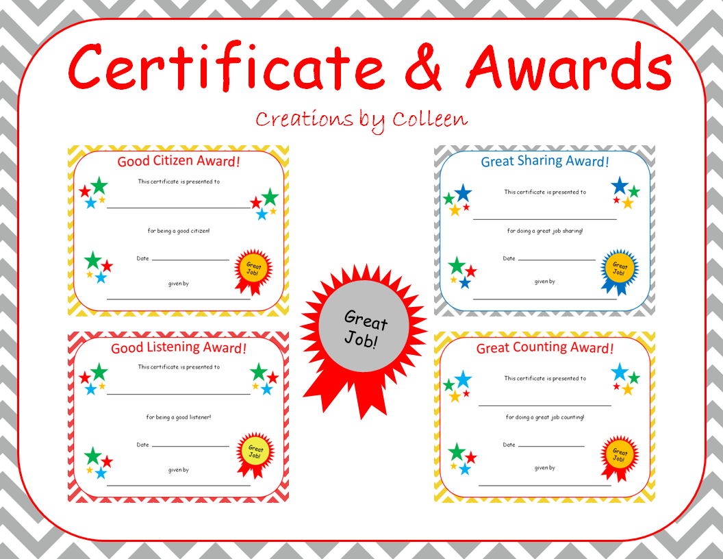 certificate awards in chevron editable creations by colleen my