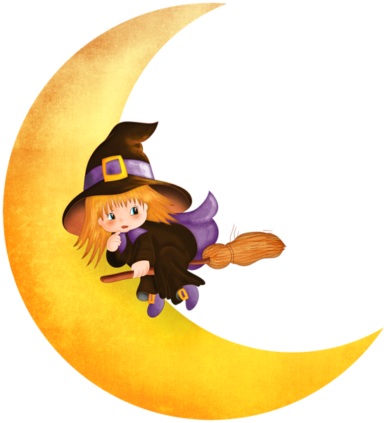 Halloween Witch On The Moon Png Clipart Halloween Cartoons Baby Witch Halloween Moon