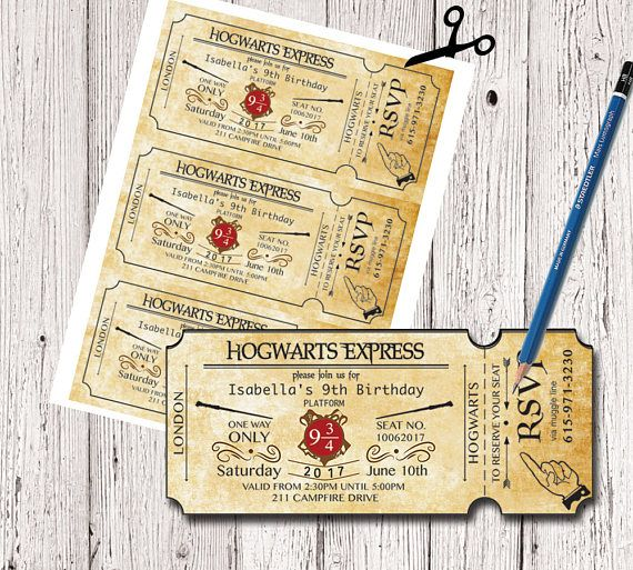 Harry Potter Birthday Ticket Invitation Hogwarts Invitation Harry