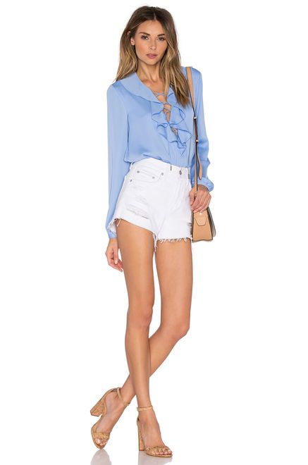 L Academie The Ruffle Boho Blouse In Marina Women Pullover Womens Shirts Frill Sleeves Top