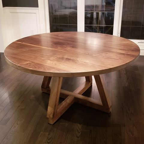 Walnut Round Table Lush Woodcraft Kitchener Waterloo For Home Restaurants Cafe Bars Business Co Solid Wood Table Live Edge Dining Table Round Dining Table