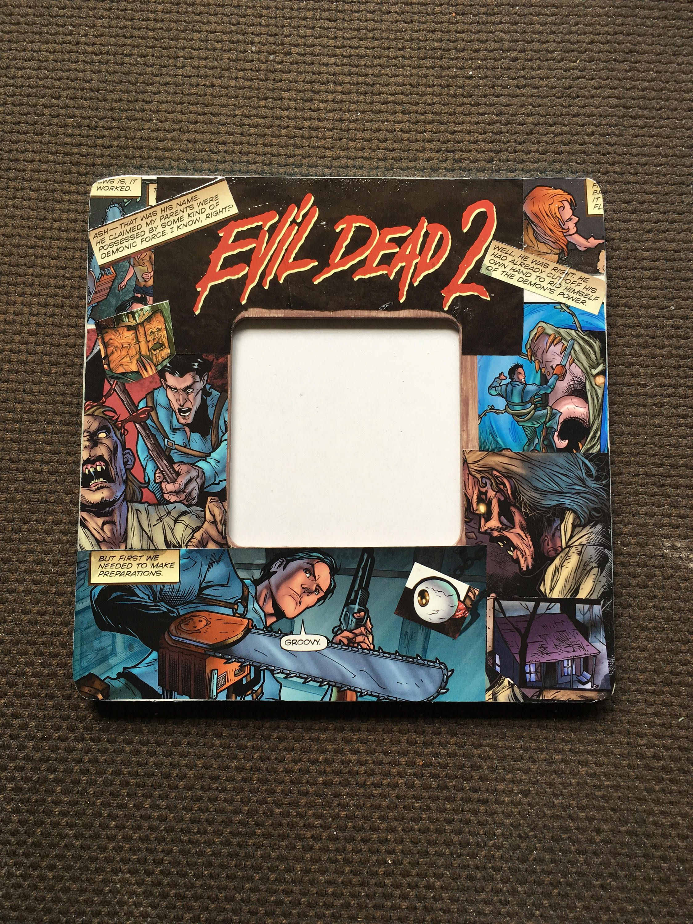 Evil dead 2 comic themed square decoupage picture frame by little1 evil dead 2 comic themed square decoupage picture frame by little1 on etsy jeuxipadfo Image collections