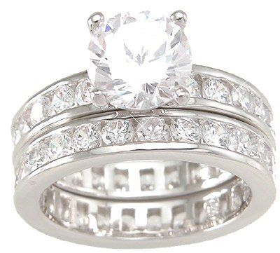 Solitaire Cubic Zirconia CZ Wedding and Engagement Ring Set