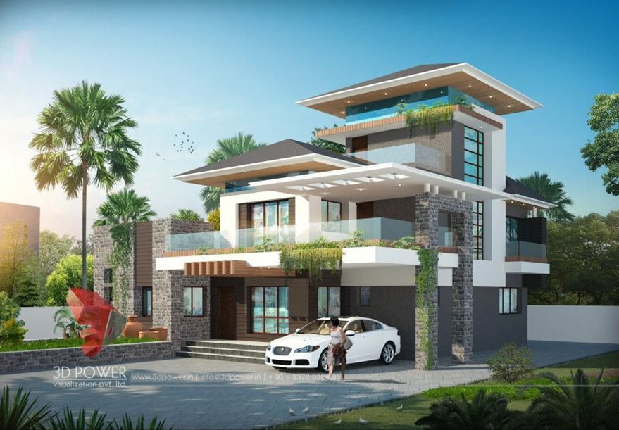48D Modern Bungalow Exterior Day Night Rendering Elevation Design Magnificent 3D Exterior Rendering Creative Decoration
