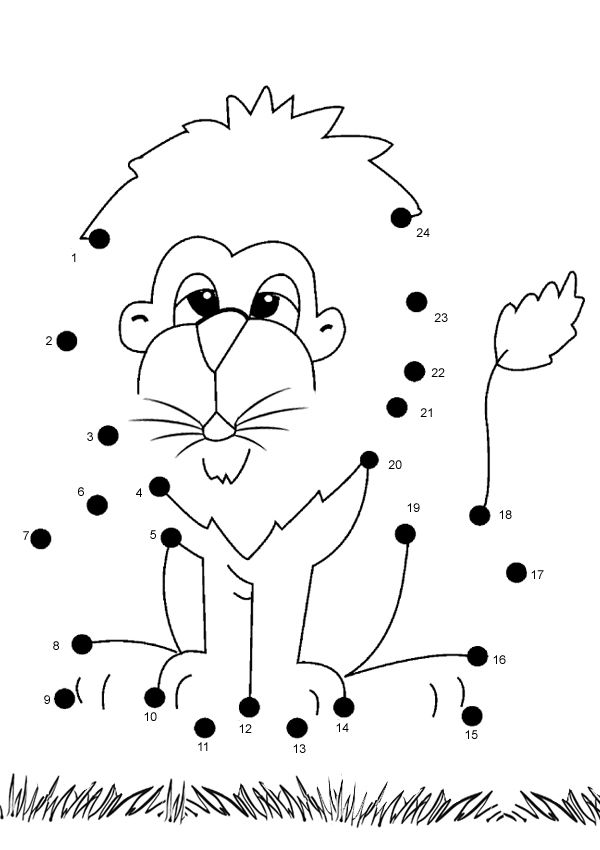 Free Online Printable Kids Games - Lion Dot To Dot | Lions, Gaming ...