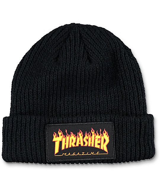 77e26fe0b25 Keep your dome from freezing with the Flame Logo black beanie from  Thrasher. This soft knit beanie features a Thrasher Magazine flame logo  patch on the fold ...