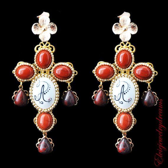 Personalized Earrings Crosses Jasper stone by Elviejewelrydreams