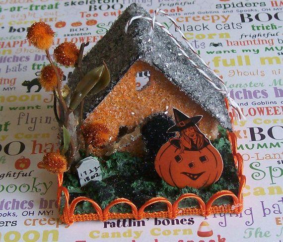 putz house box | Vintage Putz Style retro SPOOKY Halloween Lighted Glitter House ...