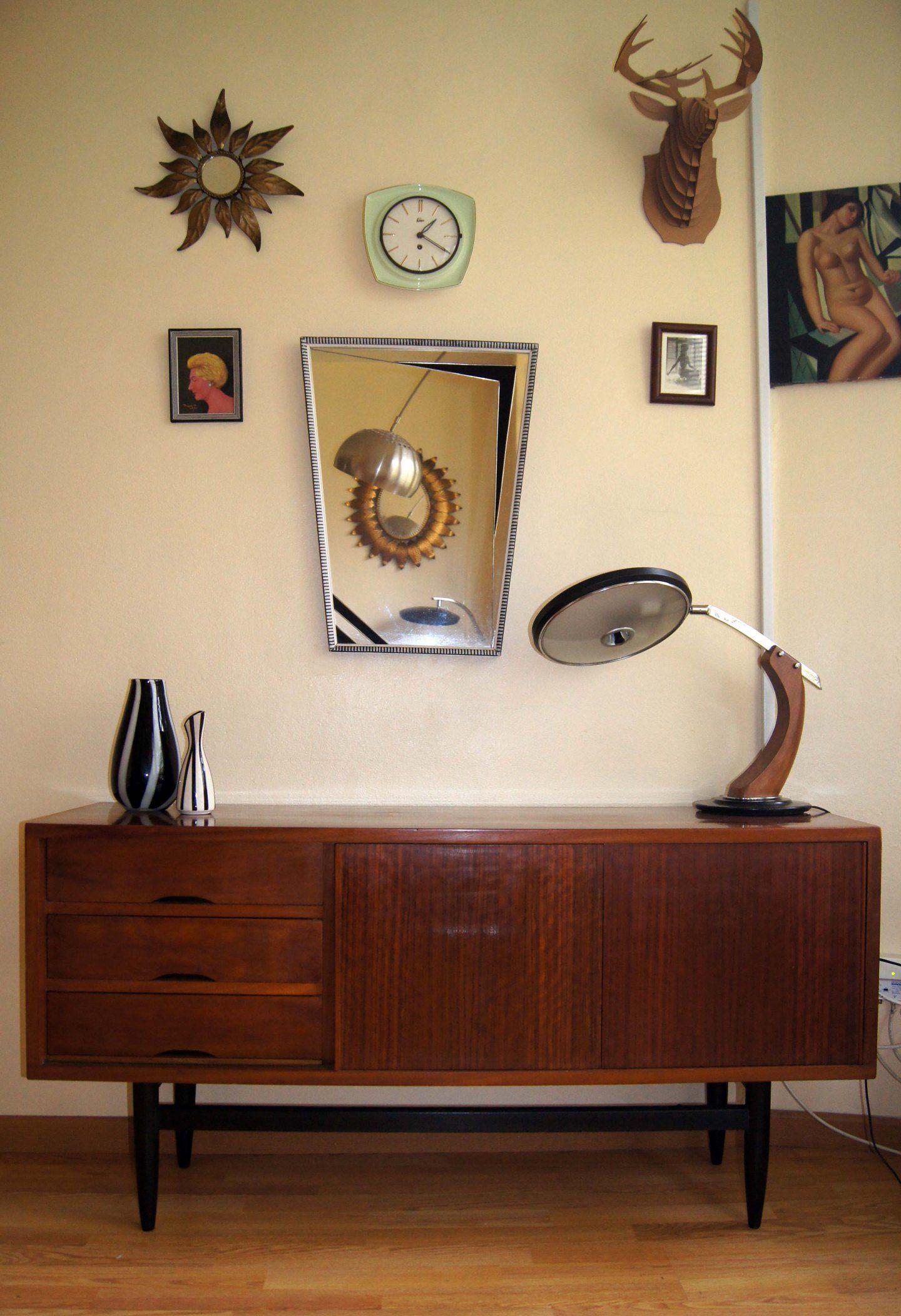 Mueble aparador dan s de teca con tres cajones y puertas correderas dinamarca a os 60 estado - Muebles anos 60 ...
