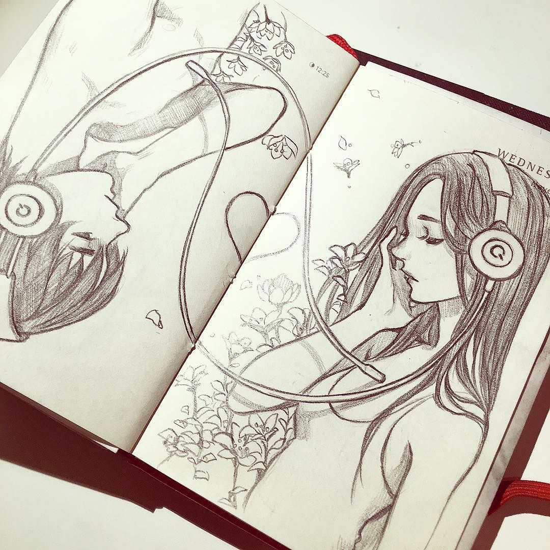 Wip. I wanted to finish this today but I'm so tired... . I found myself just staring blankly at my screen and decided it's time to sleep lol... Ps. Holy geez a lot of new followers! Thanks you guys ! just curious how did you guys find me? - #deletingsoon #pencil #music #love #headphones by qinniart