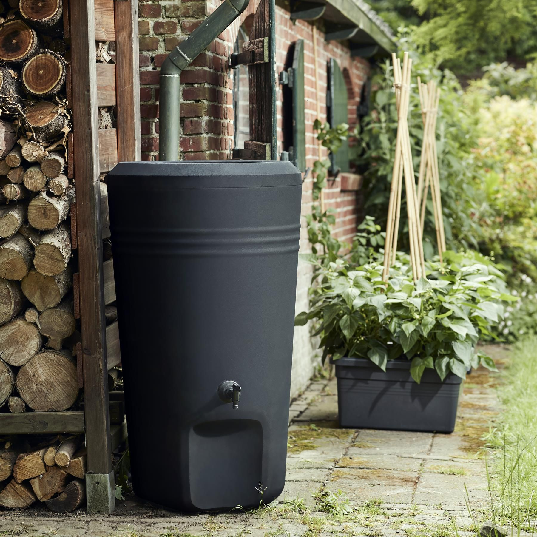 With All That Rain Your Rain Barrel Should Be Full Of Water Green Basics Rain Barrel Elho Com Raindrops Rainbarrel Garden Green