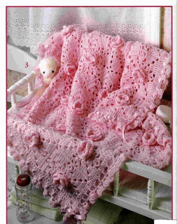Afghan Crochet Pattern Pink Roses Crochet afghan por carolrosa ...
