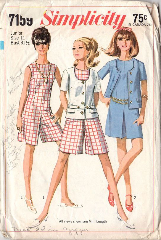 Simplicity Sewing Pattern 7159 Vintage 1960s Junior Miss Culotte ...