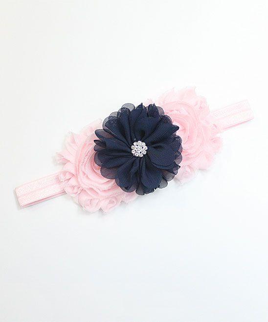 Pink   Navy Floral Headband  726ce44e583