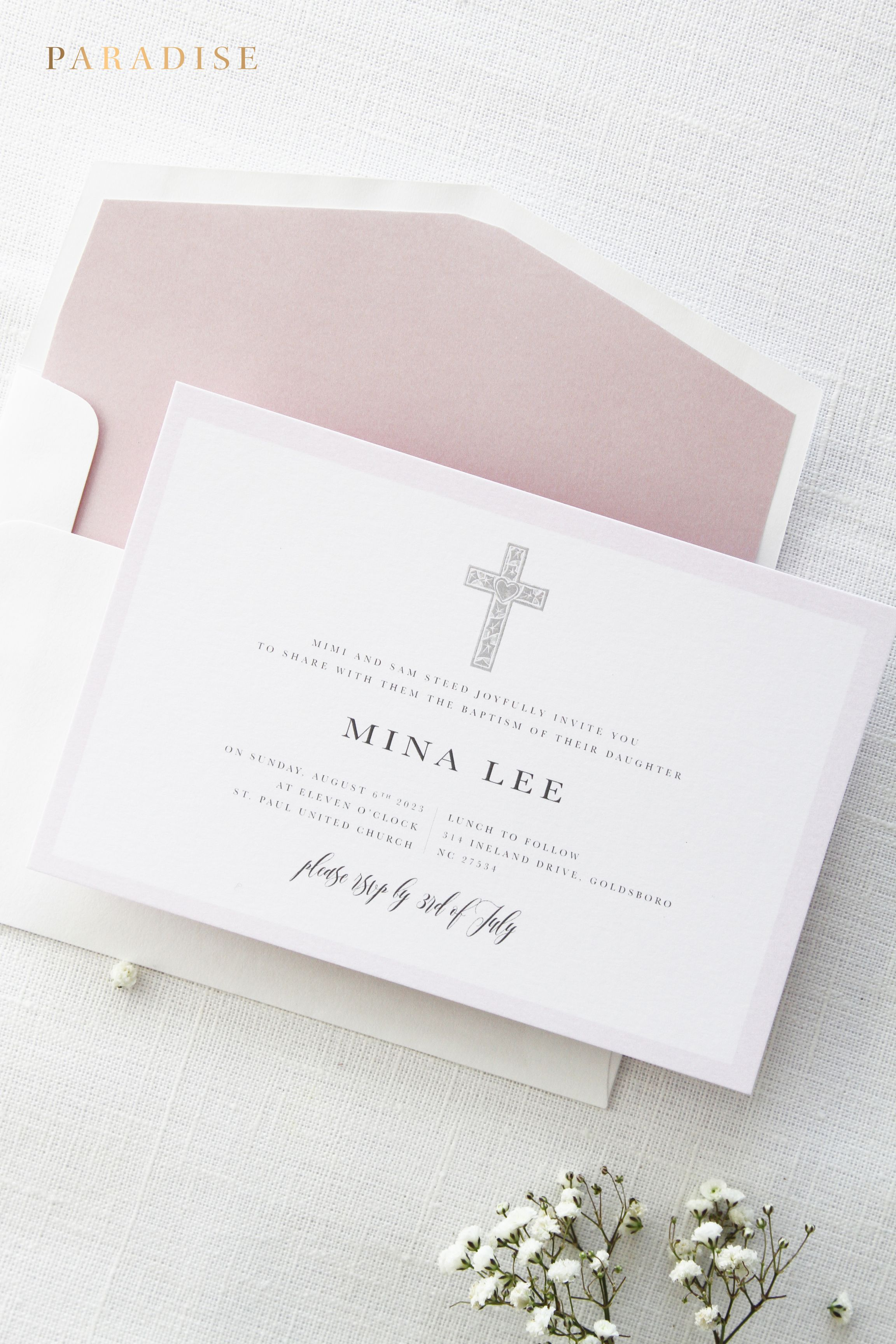 graphic relating to Printable Baptism Cards referred to as Dusty Rose Baptism Invites, Christening Invitation