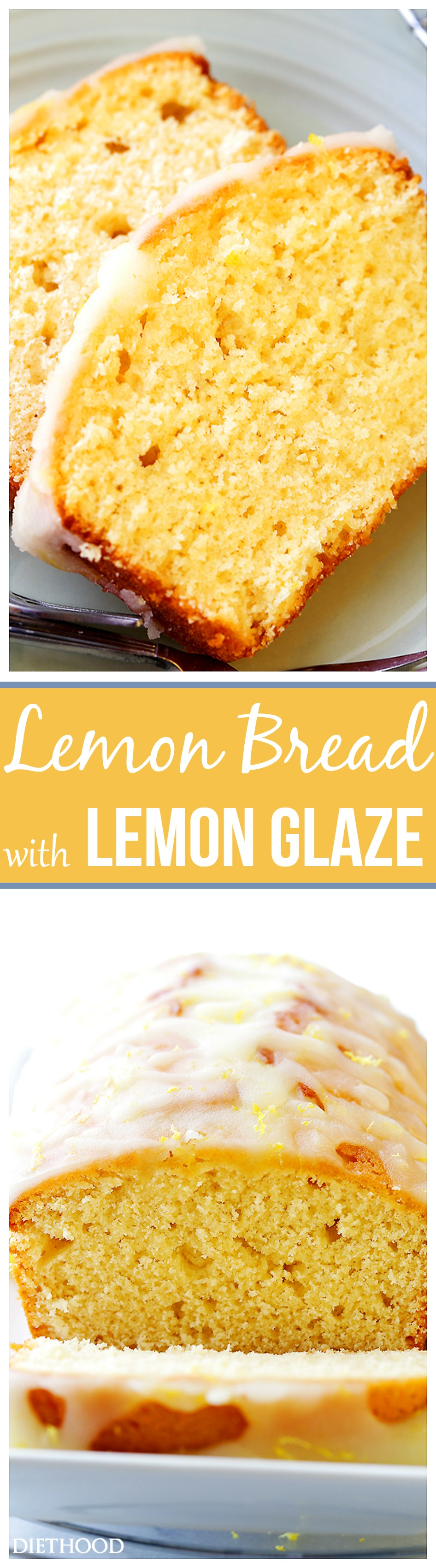 Lemon Bread Recipe - Packed with lemon flavor, this easy to make quick bread is sweet, crumbly, citrusy, lightened-up, and incredibly flavorful! The Lemon Glaze takes it over the top!